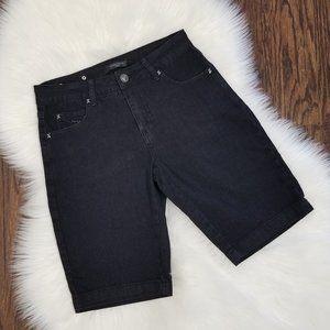 Simon Chang | Black Denim Midi Jean Shorts Size 0